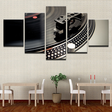 Canvas Paintings Home Decor HD Prints Dance Hall Bar Posters 5 Piece DJ Music Instrument Turntables Pictures Night Club Wall Art(China)