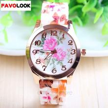 Fashion Countryside Style Flowers Petunia Wintersweet Peony Rubber Silicone Jelly Ice Analog Quartz Wristwatch Women Dress Watch