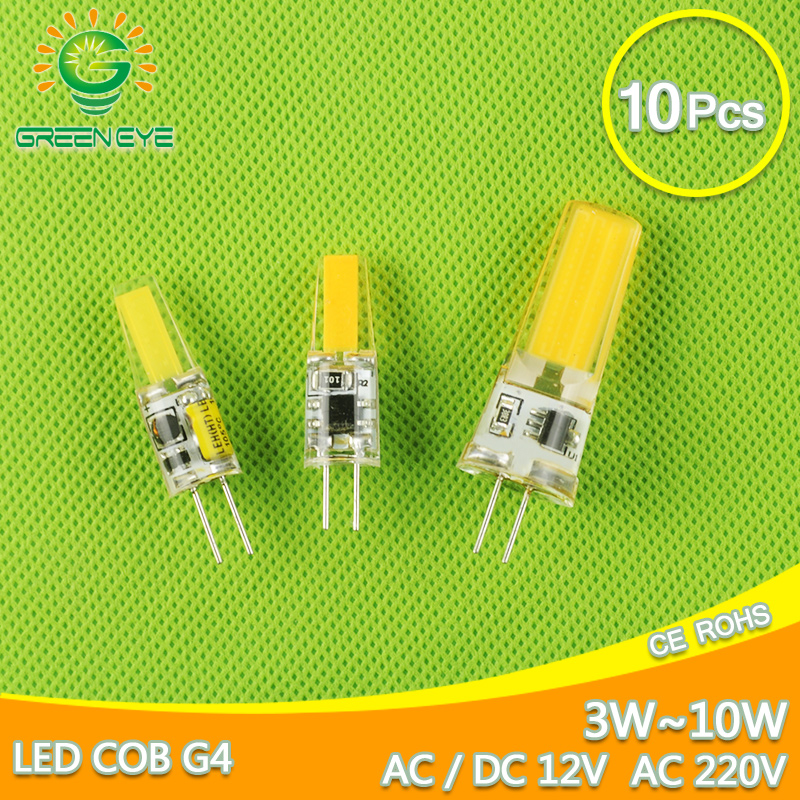GreenEye G4 Dimmable AC DC 12V/220V Mini LED G4 Lamp COB LED Bulb G4 4W 6W 10W Replace Halogen Light Lampada Bombilla Ampoule<br>