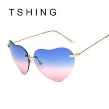 TSHING Women Rimless Heart Shape Sunglasses Brand Designer Female Fashion Clear Shades Ocean Lenses Sun Glasses
