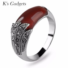 K's Gadgets Red Green Stone Ring Vintage Silver color For Women With Fine Jewelry Rock Fashion Cubic Zirconia Black Onyx Ring