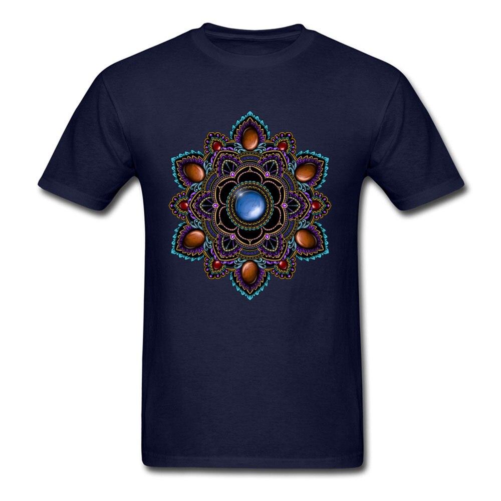 Printed On Tops Tees Cheap O-Neck Comics Short Sleeve Cotton Man T Shirts Customized T Shirt Drop Shipping Purple and Teal Mandala with Gemstones 15622 navy