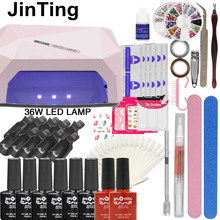 Nail Art Manicure Tool 24W Led Lamp + 6 Color 10ml uv Led Gel base top coat polish with French tip Remover Practice set File kit