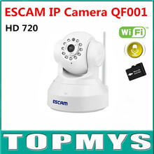 Free Shipping ESCAM QF001 Full HD 720P IP Camera P2P Wirless Wifi Home Security CCTV Camera Built in Mic Support IOS Smart Phone