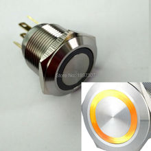 40pcs 19mm New Type Short Body Yellow 12V ring led Metal Car switch with stainless steel crust(China)