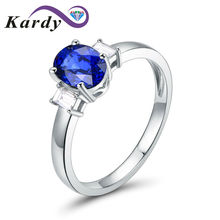 Unique Fashion 1.25ct Sapphire Gemstone Real Diamond 14K Solid White Gold Wedding Promise Bridal Band Ring for Women(China)