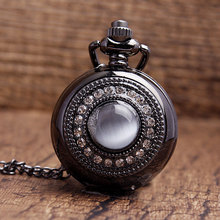 Lurxury purple gem white crystal Inlaid dial black stainless steel quartz pocket watch pendant Sweater necklace chain gift Women