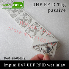 UHF RFID tag sticker Impinj H47 wet inlay 915mhz 900 868mhz 860-960MHZ EPCC1G2 6C smart adhesive passive RFID tags label(China)