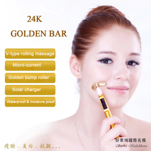 24K pure gold bar wrinkle massager derma face-lift V style stick skin roller face massage roller face firming device(China)