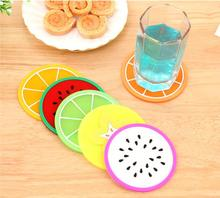 2016 Colorful fruit jelly color cup mat Silicone Coaster Coffee Table Cup Mats Pad Placemat Kitchen Accessories(China)