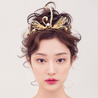 2016 New Classic gold swan rhinestone pearl Bridal tiaras wedding crown crystal diadem for bride hair jewelry veil accessories