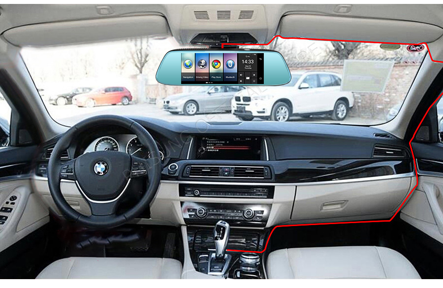 "Junsun 8"" 4G Special Mirror Car DVR Camera Android 5.1 with GPS DVRs Automobile Video Recorder Rearview Mirror Camera Dash Cam 54"