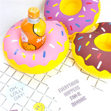6pcs/lot Unqiue Party Supplies Donuts Inflatable Water Floating can Holder Drink Coke Stand Swimming Bath toy Can Party Toys