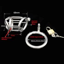 Buy 65mm length Male chastity device stainless steel metal catheter penis lock chastity urethral penis ring chastity belt men