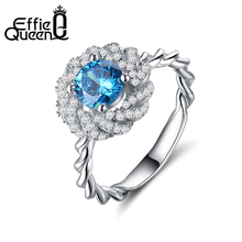 Effie Queen New Luxury Ring 4 Prong Sparkling Solitaire 1ct Blue Cubic Zirconia Forever Wedding Ring bijoux Birthday Gift DR148