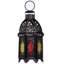 1pcs Moroccan Style Matte Black Cast Iron Handmade Octagonal Candle Lantern with Glass Decoration for Living Room Balcony Garden