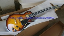 Best  LP Electric guitar custom,tobacco burst,black pickguard,gold parts,high quality.Real photo shows