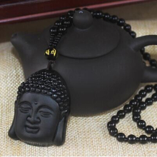 2017 Newest Black Natural Obsidian Buddha Pendant Necklace Lucky obsidian Buddha Beads necklace for men women fine jewelry(China)