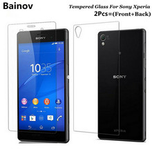 Bainov 2Pcs/Lot 9H 2.5D Front and Back Tempered Glass For Sony Xperia Z3 Compact Z1 Z4 Z5 Premium AntiExplosion Screen Protector