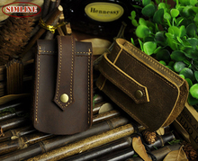 Vintage Casual 100% Genuine Leather Men Men's Car Key Wallet Wallets Holder Case Waist Bag Housekeeper Organizer Holders For Man