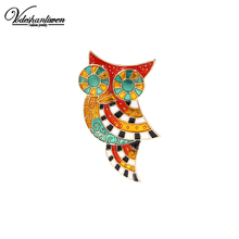 Vodeshanliwen 2017 New Arrival Vintage Enamel Owl Brooches For Women Wedding Animal Broches Bijoux Fashion Hijab Pins Wholesale()