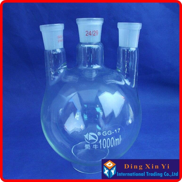 1000ml 24/29 three-necked round-bottom flask,Flask round bottom with three necks,short neck standard ground mouth<br><br>Aliexpress