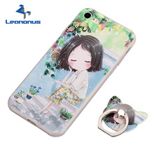 Buy Leanonus 3D Relief Colored Drawing Phone Cases iPhone 8 7 6 6S Plus 5 5S SE Case Ring Stand Holder Cover Capa Fundas for $2.88 in AliExpress store