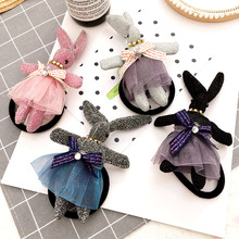 Korea Rabbit Lace dress Zircon Hair Accessories Elastic Hair band For Girls High Quality Rubber Band Hair Ties
