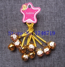 Free Shipping 50 pcs Hello Kitty  key chains with Bell  Cartoon Cell Phone Strap Bell Charm LM-85