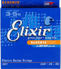 Electric Guitar Strings  Elixir 12077 Light Top Heavy Bottom Nanoweb 010-052 Guitar String with Anti-rust Plain Steels 1 Sets