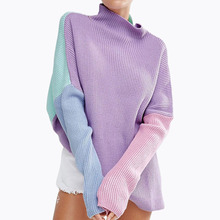 Oversized Rainbow Sweater Stitching Colors Loose Long Sleeve Women Pullover(China)