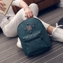 Free Shipping Real Photo 2017 PU Mini Students Backpack with Rivets Cheap Women Backpacks Red Green Purple Black BB177
