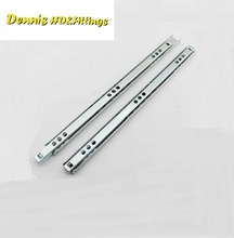 2Pairs/Lot 17mm ball bearing drawer slide 2 fold Double Side