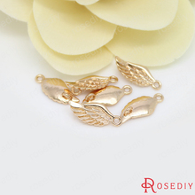 10PCS 16x7MM 24K Champagne Gold Color Plated Brass 2 holes Angel Wings Charms High Quality Diy Jewelry Accessories