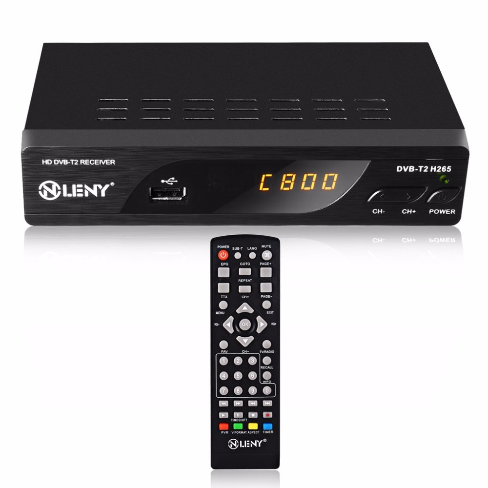 DVB-T2 H.265 Full HD 1080P High Definition Digital Terrestrial Receiver USB2.0 Port with PVR Function and External HDD Black EU<br>