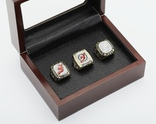 3 PCS 1995 2000 2003 New Jersey Devils NHL Hockey Stanely Cup Championship Ring 10-13 size with cherry wooden case