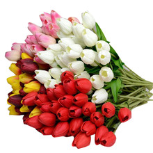 10pcs Tulip Artificial Flower Latex Real Touch Bridal Wedding Bouquet Home Decor nosegay posy supply on sale(China)