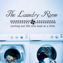 "The Laundry Room Quote - Sorting life out one load at a time - Vinyl Wall Decal Home Decor 34"" x 11"""