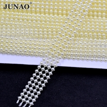 3mm Ivory Pearl Beads Chain Round Pearls Bead String Strass Crystal Banding Bridal Applique For Wedding Party Crafts Decoration