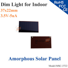 37x22mm 3.5V 5uA dim light Thin Film Amorphous Silicon Solar Cell ITO glass for indoor Product,calculator,toys,0-3V battery(China)