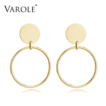 VAROLE Round Wire Earrings Jacket Gold Color Stud Earrings For Women Jewelry Stainless Steel Earrings Oorbellen Brincos Grandes(China)