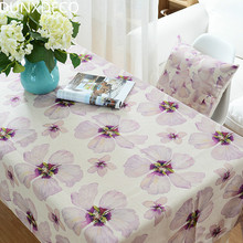 DUNXDECO Tablecloth Linen Cotton Table Cover Fabric Country Style Spring Dreaming Purple Big Flower Home Decoration(China)