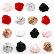 NEW 40PCS 4cm DIY Handmade Satin Ribbon Rosettes Fabric Flower Bow Appliques for Wedding Decor Sewing Accessories