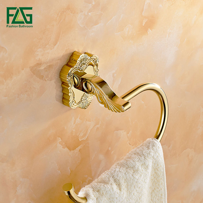 FLG Soild Brass Wall Mounted Carved Bathroom Towel Ring,Towel Holder, Towel Bar Golden Finish Bathroom Towel Accessories 15260<br>