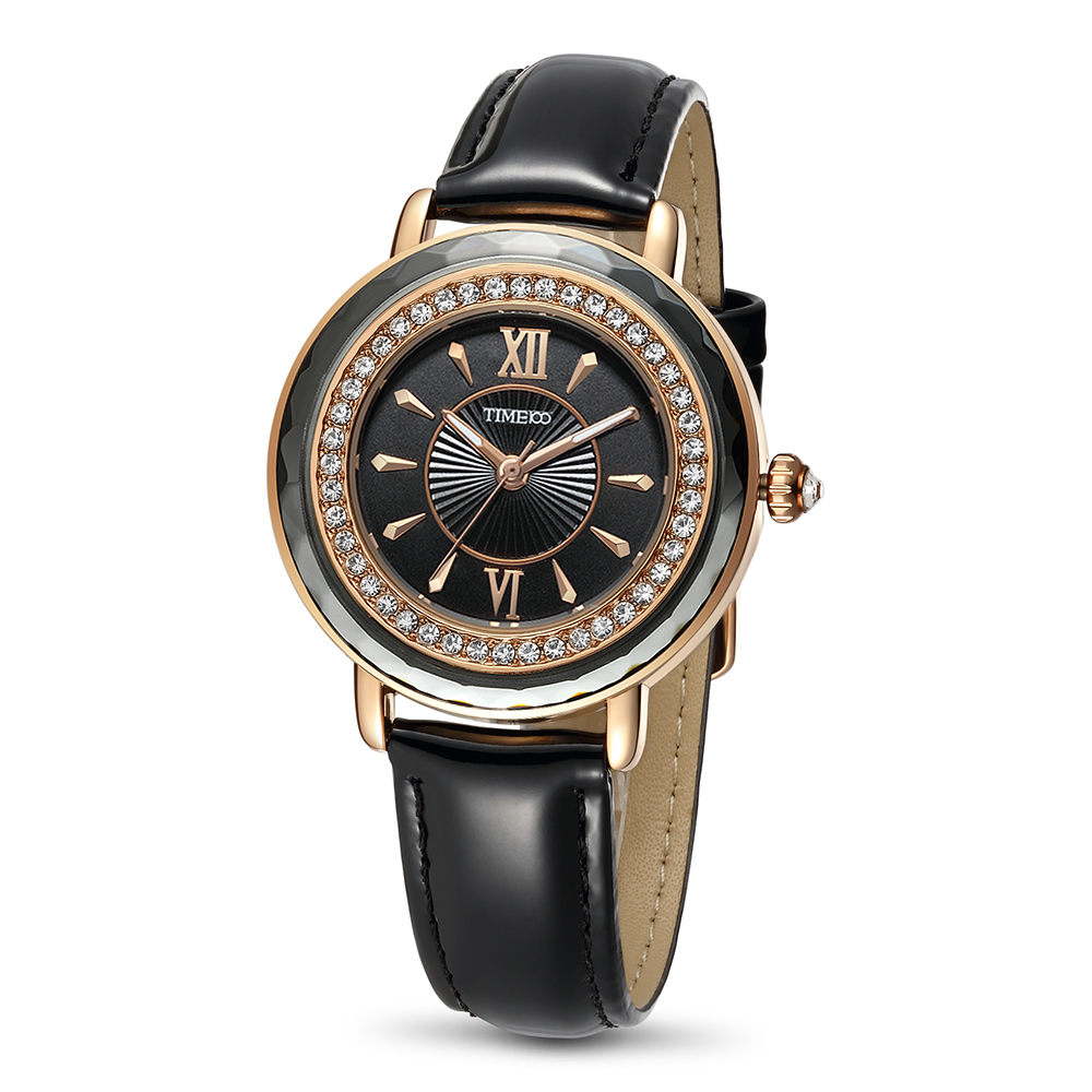 Time100 women watches leather strap diamond round dial black fashion ladies wrist watch relogio feminino<br>