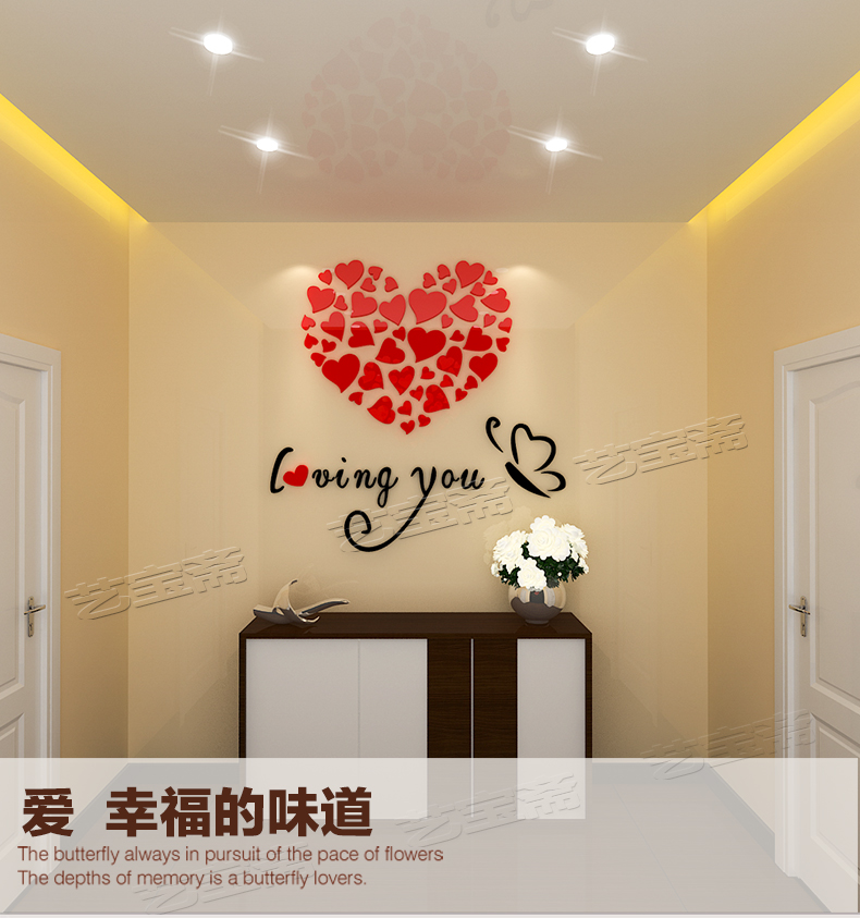 Romantic crystal acrylic 3 d wall stickers bedroom dorm sitting room decorate household act the role ofing is tasted-298<br><br>Aliexpress