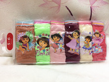 Free Shipping Girl's Dora Briefs Children Underwear Panties Kids Cute Cartoon Underwear 6 Colors/Bag 6 Sizes Available 6Pcs/lot(China)