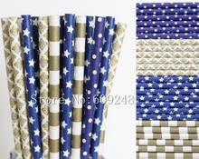 100pcs Drinking Party Paper Straws Mix,Navy Blue Swiss Dot and Star,Metallic Gold Damask and Horizontal Rugby Striped,Wedding