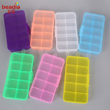 New Arrival!! 5 Colors 17.4x2.2x9.8 cm 15 Cells Adjustable Jewelry Plastic Storage Transparent Box For Whole Sale And Retail(China)