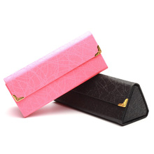 Hot Triangle Folding Sunglasses Case Handmade Brand Design Custom Easy Take Spectacle Glasses Case Women Box Fashion Container